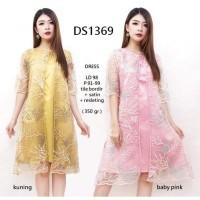DS1369 - DRESS TILE BORDIR MEWAH DRESS WEDDING PARTY WANITA MODERN