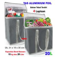 Tas aluminium foil 20L belanja shopping cooler bag untuk makanan beku