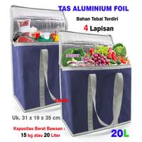 Tas aluminium foil tote cooler bag shopping lunch bag tas bekal makan