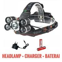 PAKET KOMPLIT Senter kepala 5 LED / Headlamp Cree XML T6 4XPE