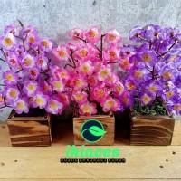 Bunga Sakura Pot Kayu Bunga Plastik Rumput Palsu Dekorasi Imlek Varian
