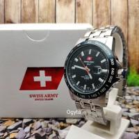 Swiss Army Analog Jam Tangan Pria Strap Rantai Silver 3309G Original