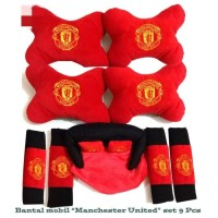 Bantal Jok Kepala Mobil Car Set Headrest Manchester United 9 Pcs
