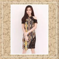 Dress Batik Sabrina Shoulder Motif Tenun Kuning