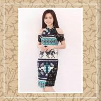 Dress Batik Sabrina Shoulder Biru