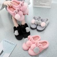 Sandal Rumah Pompom / Sandal Couple Import Empuk Hangat Lucu Korean - Black, S 36-37