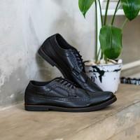 GIANT LONGWING BLACK Sepatu Formal Pantofel Pria Hitam Kulit Kerja Ori