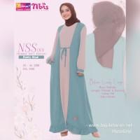 Gamis Nibras NSS 001 Warna Dusty Blue Dress Soft Pastel Busui Cardigan
