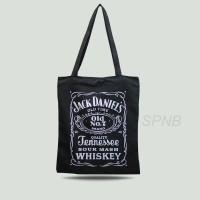 Totebag Tote Bag Tas Jinjing Pria Wanita USA Drill Jack Daniels Hitam