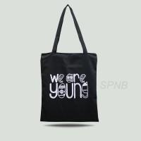 Totebag Tote Bag Tas Jinjing Pria Wanita USA Drill We Are Young Hitam