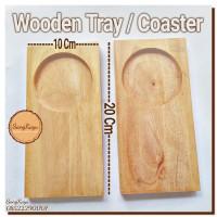 Wooden Coasters tray 10 x 20 cm tatakan cangkir gelas kopi nampan kayu
