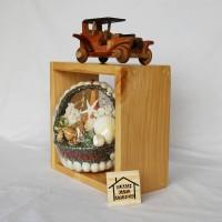 Rak kotak ambalan dinding kayu pinus penyimpanan kecil 20cm x 20