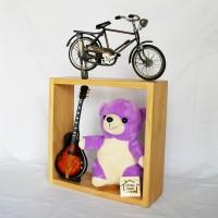 Rak kotak ambalan dinding kayu pinus penyimpanan besar 30 cm x 30 cm