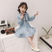 DRESS ANAK FASHION BIRU BAJU ANAK CEWEK D 0027