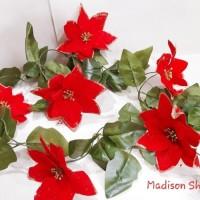 Bunga Natal Lingkar 2 Meter Dekorasi Krans Daun Merry Christmas Murah