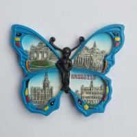 Magnet kulkas Brussels kupu kupu souvenir negara Belgia