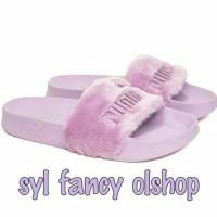 sendal puma fenty fur slides purple pink