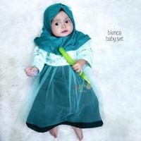 Bianca Setelan Baju Gamis Bayi Perempuan Muslim Anak dan Balita eLBi