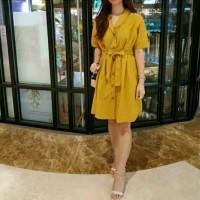 KOREAN OFFICE LOOK MUSTARD DRESS BAJU WANITA XL TEEN DRESS - HERSTYLE