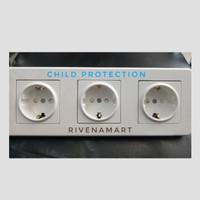 Schneider Saklar 3 Frame Triple Stop Kontak Child Protection Leona