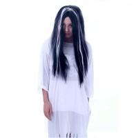 Rambut Palsu Warna Wig Rambut Panjang Hitam Aksesories Pesta Kostum