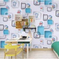 Wallpaper Dinding Motif Doraemon kotak 3D 10m x 45cm