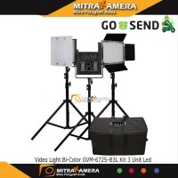 Video Light Bi-Color GVM-672S-B3L Kit 3 Unit Led dfg 36673