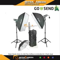 Paket Studio Visico VL-400 Plus Softbox & Umbrella Kit 3 Flash He
