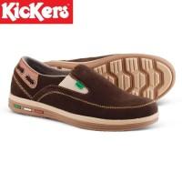 Ter Hot Sepatu Casual Pria Kickers Slip On Suede Hitam Dan Coklat -