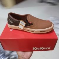 Dijual Sepatu Kickers Mx One Slip On Casual Santai Formal Pria Coklat