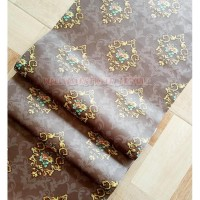 Walpaper Dinding Stiker Batik Bunga Coklat 10m Wallpaper Sticker