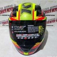 kewek Helm KYT R10 seri 2 yellow black red pluo kuning hitam merah