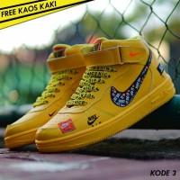 Sepatu Sneakers Wanita Nike Air Force 1 High Women Yellow / Kuning