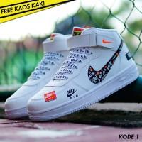 Sepatu Sneakers Wanita Branded Nike Air Force Women Full White
