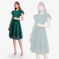 Dress Brokat Modern Dresdy Midi Short Dress Wanita