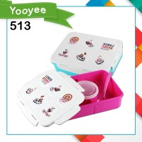 LUNCHBOX - KOTAK MAKAN YOOYEE 513 5 SEKAT - PINK BLUE - Merah Muda