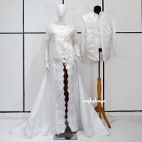 Couple Kebaya Pengantin Modern Putih Pearly Wedding Dress Long Tail