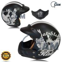 Helm SNI Bogo cross Ride black doff white trail + rahang + pet not jpx