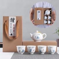 White Chinese Tea Set - Gift Box - Classic Tea Set Monk - Motif Biksu