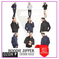 Jaket Sweater Hoodie Zipper Polos Real Cotton Flecee Murah