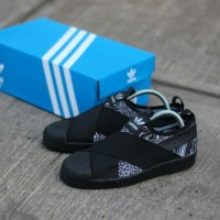 ADIDAS SUPERSTAR SLIP ON BLACK PRINT ORIGINAL SNEAKERS