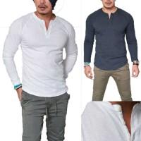 Kaos T-Shirt Slim Fit Casual dengan Kancing Warna Polos
