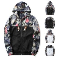 Man Jacket Zipper Floral Hooded Outwear Trendy Windbreaker Casual Spri