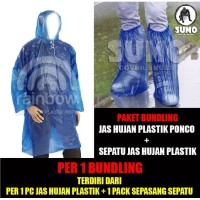 Jas Hujan Ponco Plastik + Cover Shoes - Cover Sepatu = 1 SET Bundling