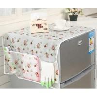 Cover penutup kulkas dengan 6 kantong anti air sarung taplak lemari es