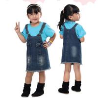 overall jeans rok pendek levis anak perempuan cewe setelan/baju kodok