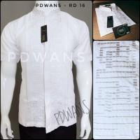 Baju Koko Lengan Pendek JUMBO Putih Bordir Senada PDWANS - RD16 - Putih, XXXXL