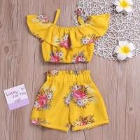 baju bayi setelan sabrina celana karet bunga yellow for baby girl
