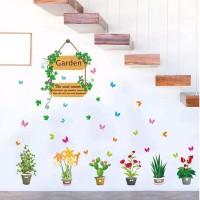 Stiker Dinding / Kaca / Wall Sticker: Pot Tanaman Bunga dan Kupu-Kupu