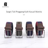 Soigni Ikat Pinggang Wanita Pria sabuk tali kulit double loop Fashion